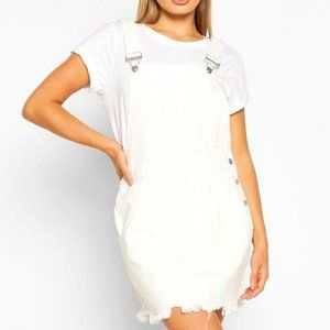 Denim Overall Frayed Hem Pinafore Dress Sz 4 NWT
